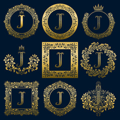 Vintage monograms set of J letter. Golden heraldic logos in wreaths, round and square frames.