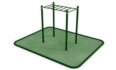 Parallel horizontal bars at sports ground for workout. 3D rendering.