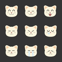 Smiley Set of Cat Cartoon. Isolated.