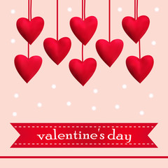 Template greeting card with red hearts, vector illustration