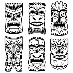 Hawaiian tiki statue masks
