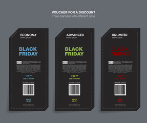 Black Friday collection sale banner. Black Friday sale set banner price tag label. Set tariffs. Vector illustration