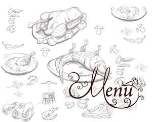 Background with food illustrations for restaurant or cafe menu.