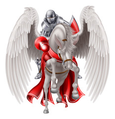 Knight on Pegasus Horse