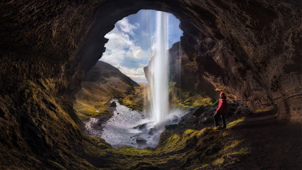 Printed roller blinds Waterfalls Man and Nature - ICELAND