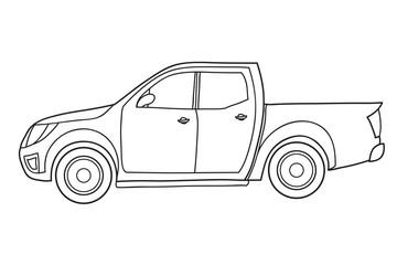 Pickup Truck. Side view. Vector doodle illustration