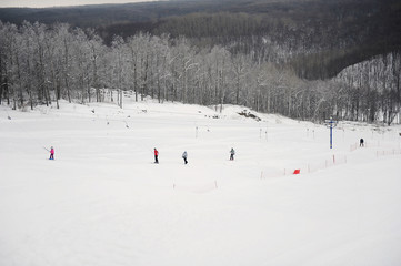 General view down on ski slope