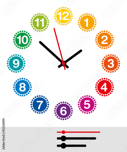 Rainbow colored clock face with numerals one to twelve  Analog clock