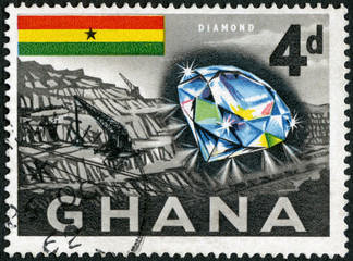 GHANA - 1959: shows Diamond and mine