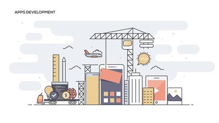 Wall Mural - Apps Development Flat line designed banner