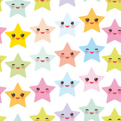 Seamless pattern Kawaii stars set, face with eyes, boys and girls pink green blue purple yellow pastel colors on white background. Vector