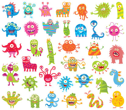 Set of funny little monsters. Big Set