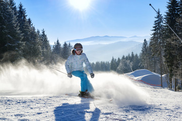 Girl having fun on ski