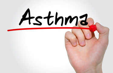 """Hand writing inscription """"Asthma"""" with marker, concept"""