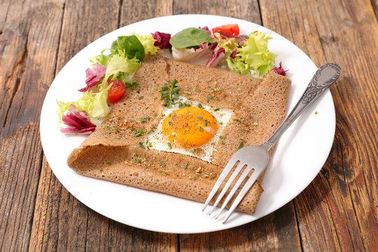 buckwheat crepe with egg and cheese