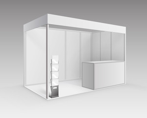 Vector White Blank Indoor Trade exhibition Booth Standard Stand for Presentation with Counter Booklet Brochure Holder in Perspective Isolated on Background