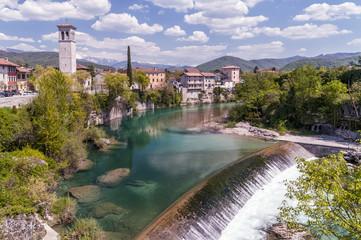 Beautiful panorama of Cividale del Friuli and of the waterfall on the Natisone river, Udine, Friuli Venezia Giulia, Italy
