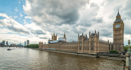 Big Ben and Parliament buildings - view from Thames bridge