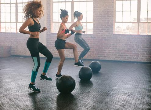 Women exercising in aerobics class