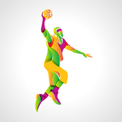 Basketball player jump shot. Vector illustration