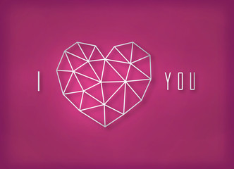Vector geometric silver heart made of triangle grid on pink background.