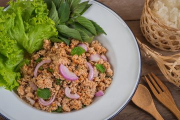 Spicy minced pork salad and sticky rice, Thai food