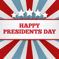 Presidents Day background. USA patriotic template with text, stripes and stars for posters, flyers, decoration in colors of american flag. Colorful vector illustration for National celebrations