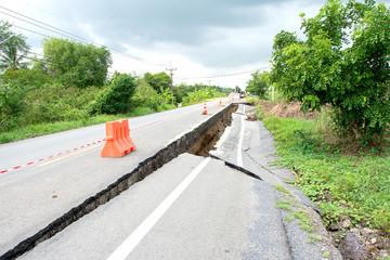 Cracked surface of an asphalt road
