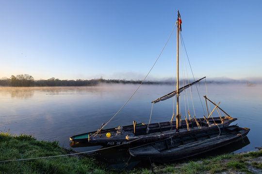 Traditional boats on Loire River, Chouze-sur-Loire, Indre et loire, Loire Valley, Centre, France