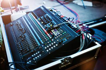Digital mixing console. Sound mixer control panel, closeup of au