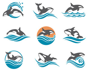 collection with abstract symbols of whale and sea wave
