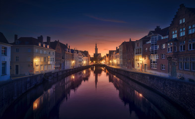 Wall Murals Bridges Brujas Sunset - Belgium