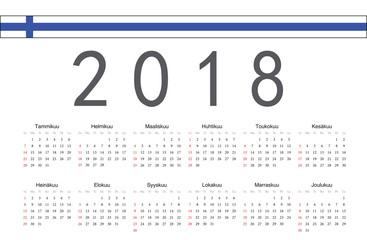 Finnish 2018 year vector calendar