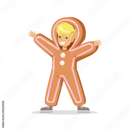 Christmas Carnival Theme Outfit.Boy In Ginger Bread Man Outfit Dressed As Winter Holidays