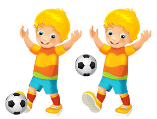 Cartoon child playing football - activity - illustration for children