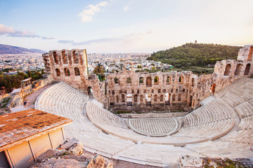 The Odeon Herodes Atticus theatre near Acropolis in Athens, Greece