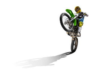 Dirt bike and rider isolated on white