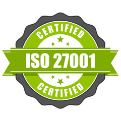 ISO 27001 standard certificate badge - Information security mana