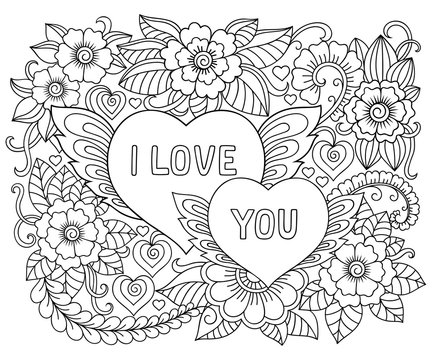 Illustration of flowers and heart for Valentine's Day. Floral pattern for coloring book. Doodle pattern in black and white.