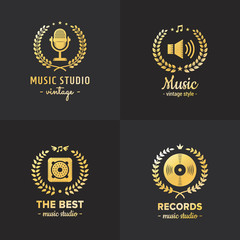 Music studio and radio gold logo vintage vector set. Part four.