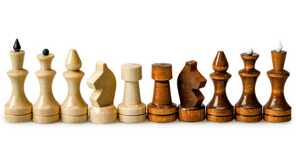 Chess pieces in a row isolated on a white background