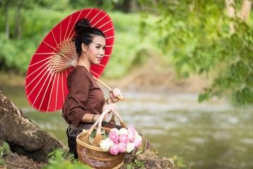 Beautiful Thai traditional costume lady
