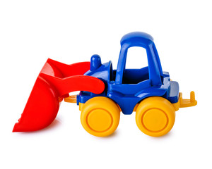 Toy tractor isolated on a white background