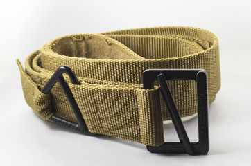 Military belt on a white background