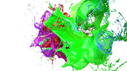 inks splashes in white background 3d illustration