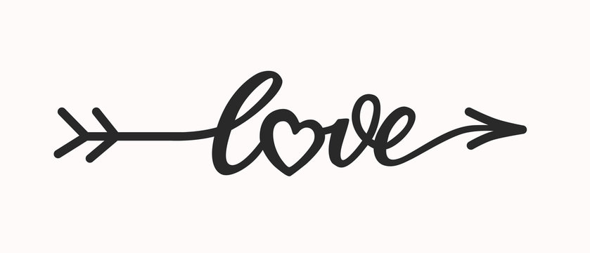 Love hand drawn lettering in form arrow