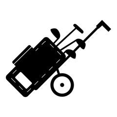 Cart for golf clubs icon, simple style