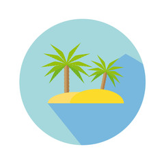 Flat Icon With Palm Tree And Island Long Shadow For Travel