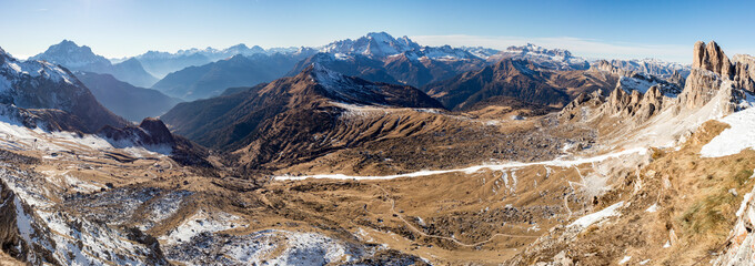 Dolomites huge panorama landscape view in winter snow time
