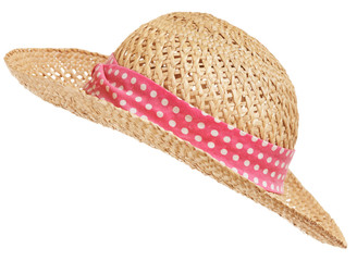 Open weave straw hat with pink polka dot band and curved brim